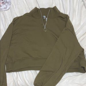 Divided Army Green Crop Top Sweater